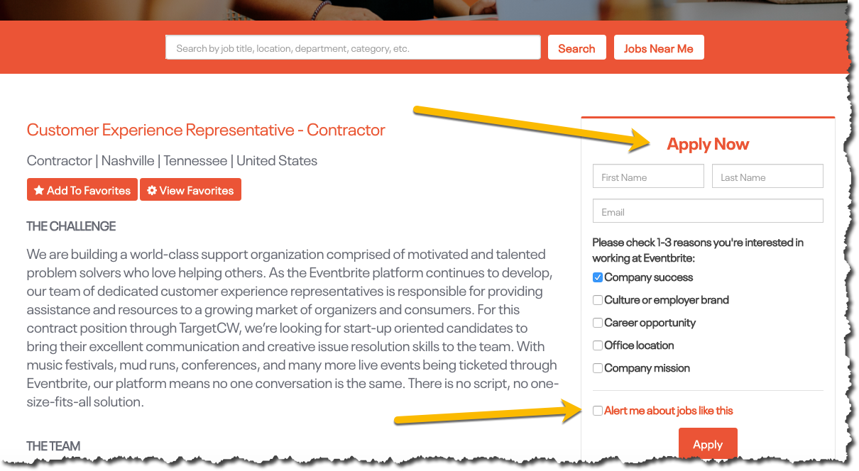 Eventbrite's pages are powered by Clinch Talent