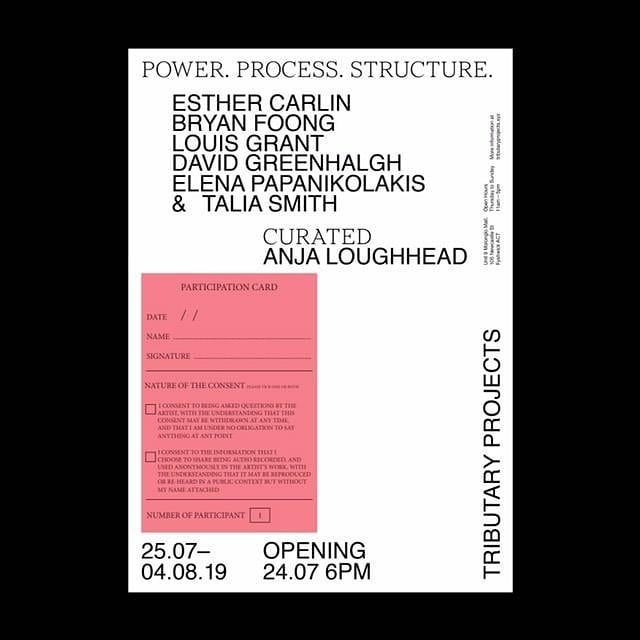Power. Process. Structure.  Showing a piece @tributary.projects - thanks @anja_loughhead ✨  Opening 6pm Wednesday 24 July.