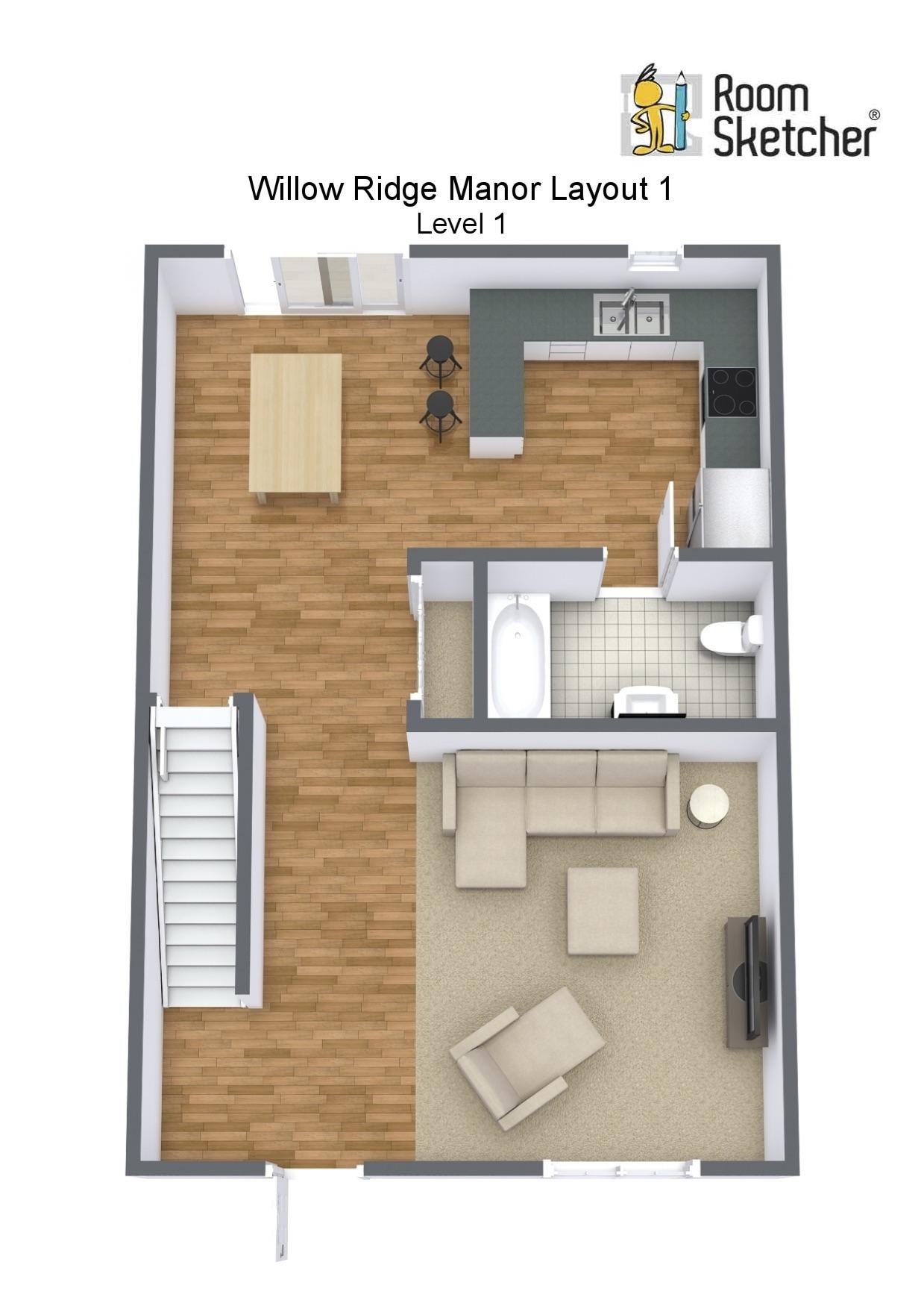 Floorplan letterhead - Willow Ridge Manor Layout 1 - Level 1 - 3D Floor Plan.jpg