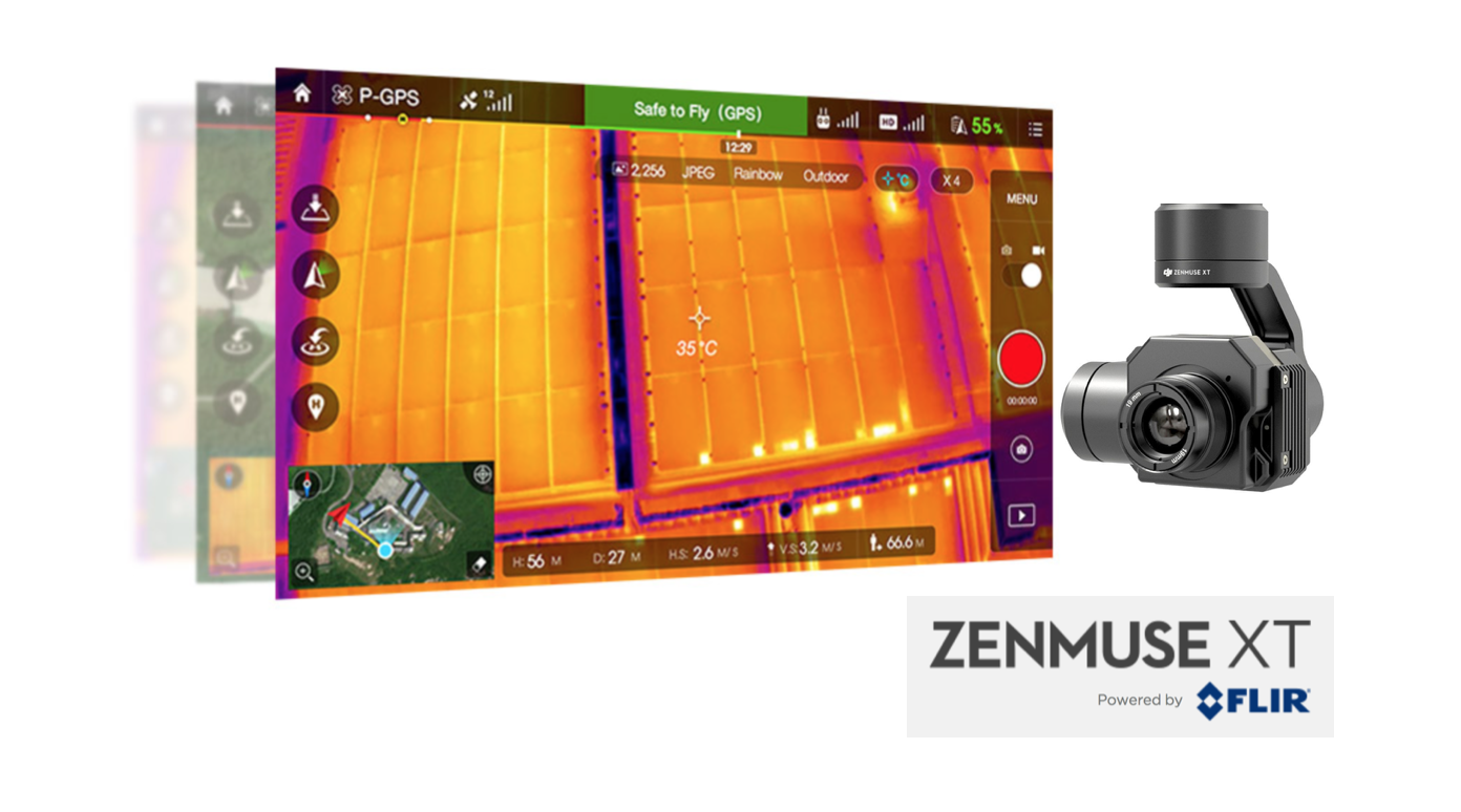 The camera on the DJI Zenmuse XT is developed by FLIR. It provides high-sensitivity (50mK) infrared scanning at 640/30 fps or 336/60 fps depending on the camera model. Stabilized and controlled by a custom DJI gimbal, it provides smooth, clear imagery and 360 degrees of seamless rotational movement.