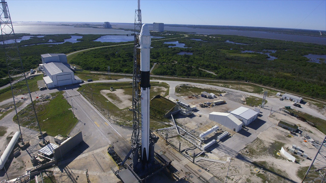 A SpaceX Falcon 9 rocket and Dragon spacecraft at Space Launch Complex 40 at Cape Canaveral Air Force Station in Florida. Photo credit: NASA
