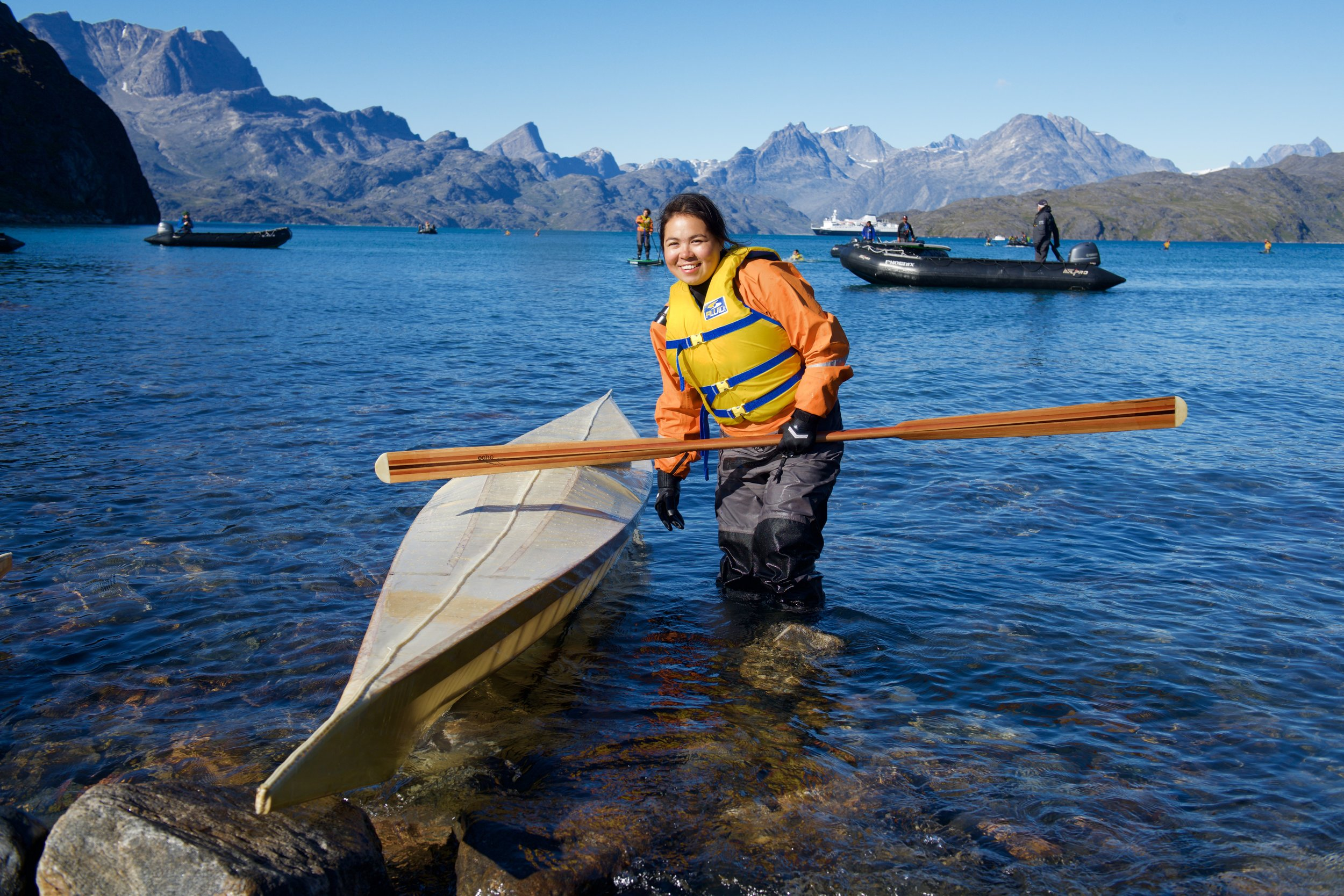 Linda Kristiansen from Maniitoq and Nuuk, Greenland, paddles a qajaq for the fist time. Linda's mom was part of the revival of qajaqing traditions in Greenland.