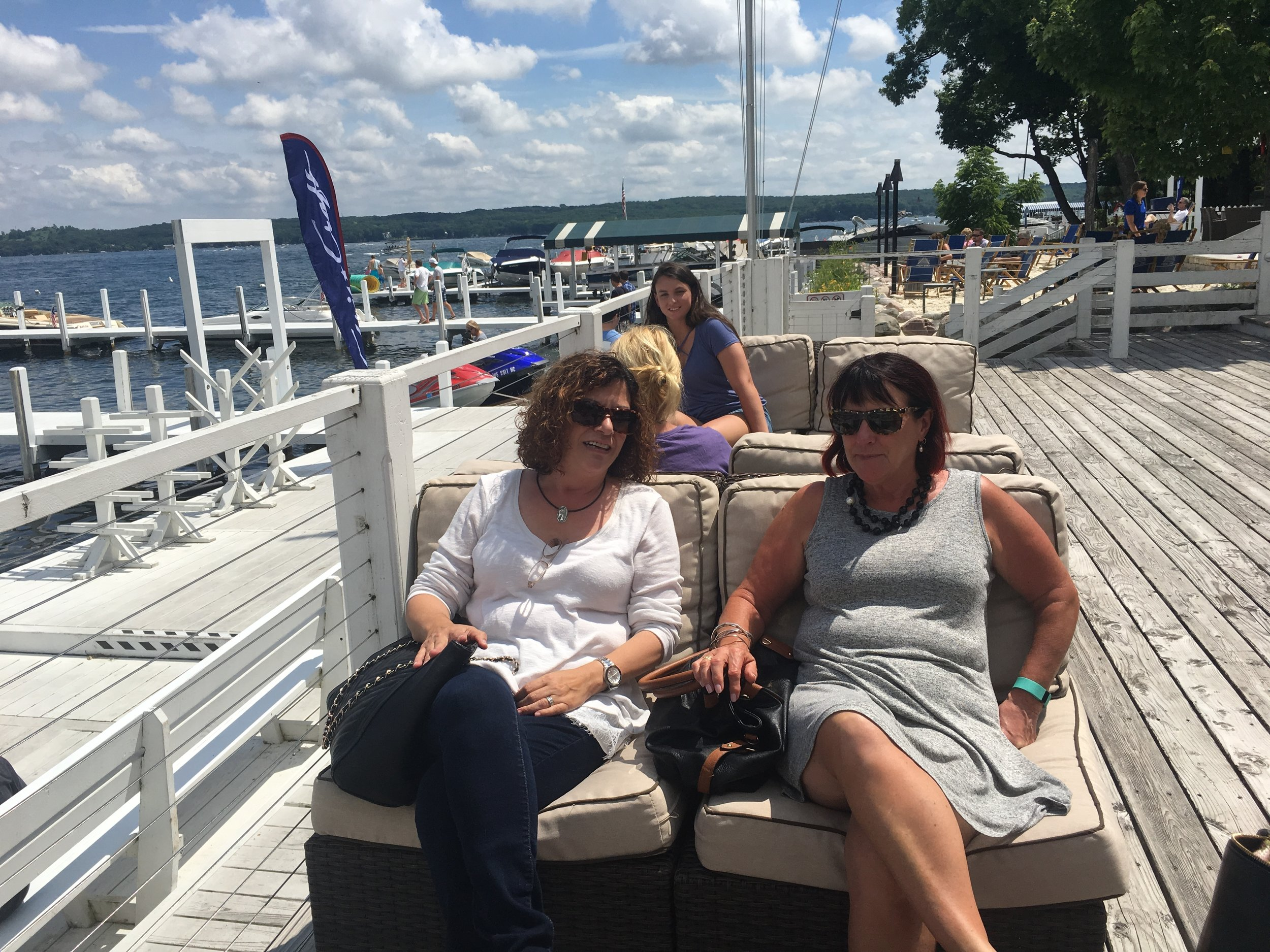 - Relaxing after lunch at The Pier, Lake Geneva