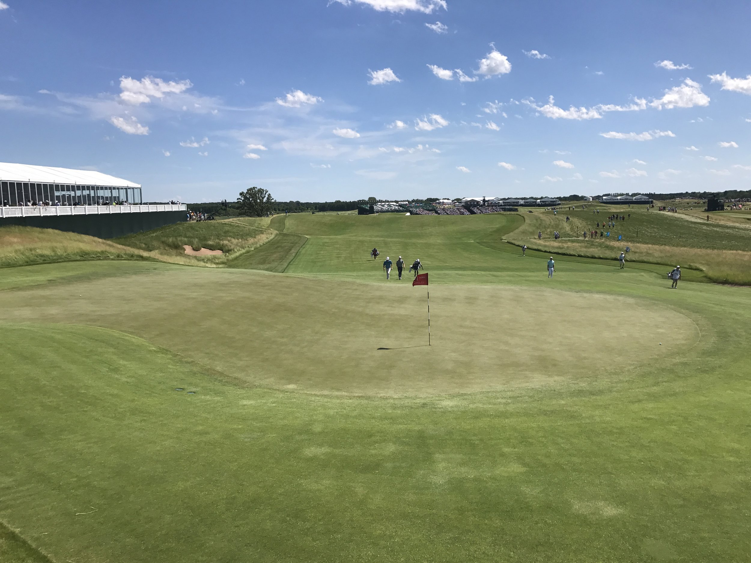 Day 9 - Back to Erin Hills for the final day of the US Open on a very windy day, with just one Aussie left to support:Marc Leishman, who ended up a creditable 17th place. We were also really happy to see and support stars like Ricky Fowler, Hideki Matsuyama, Sergio Garcia, and of course Brooks Koepka.