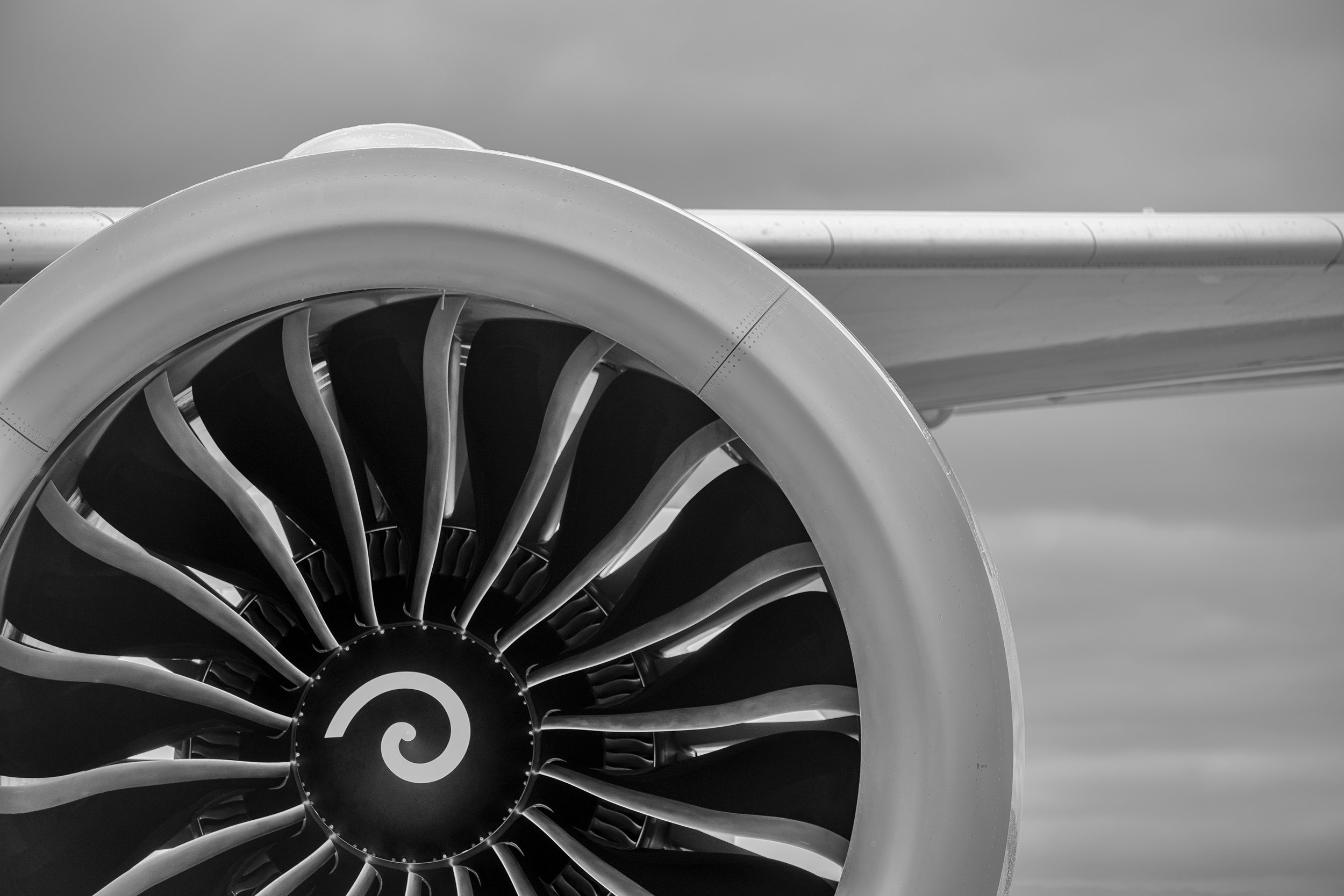 Detail of Qantas Dreamliner 'Great Southern Land'  GEnx engine  on arrival at Adelaide Airport. Fun Dreamliner fact - they can start both engines at the same time! Shot on a Nikon D800 and processed in Lightroom, Photoshop and Nik Silver Efex.