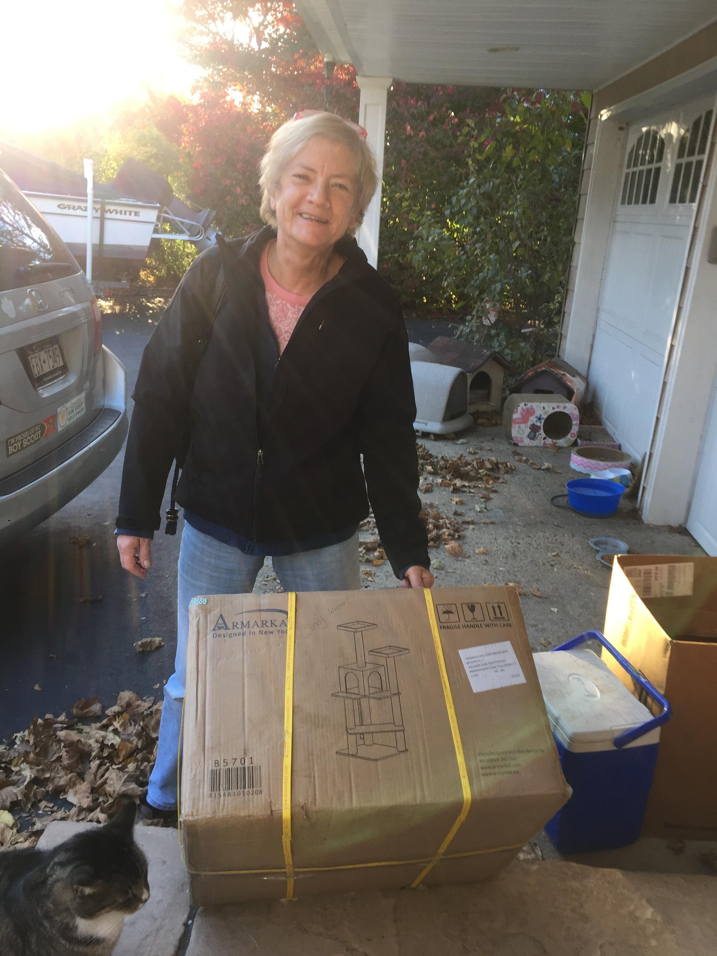 Cindy Balestrino won the cat tree! Congratulations!