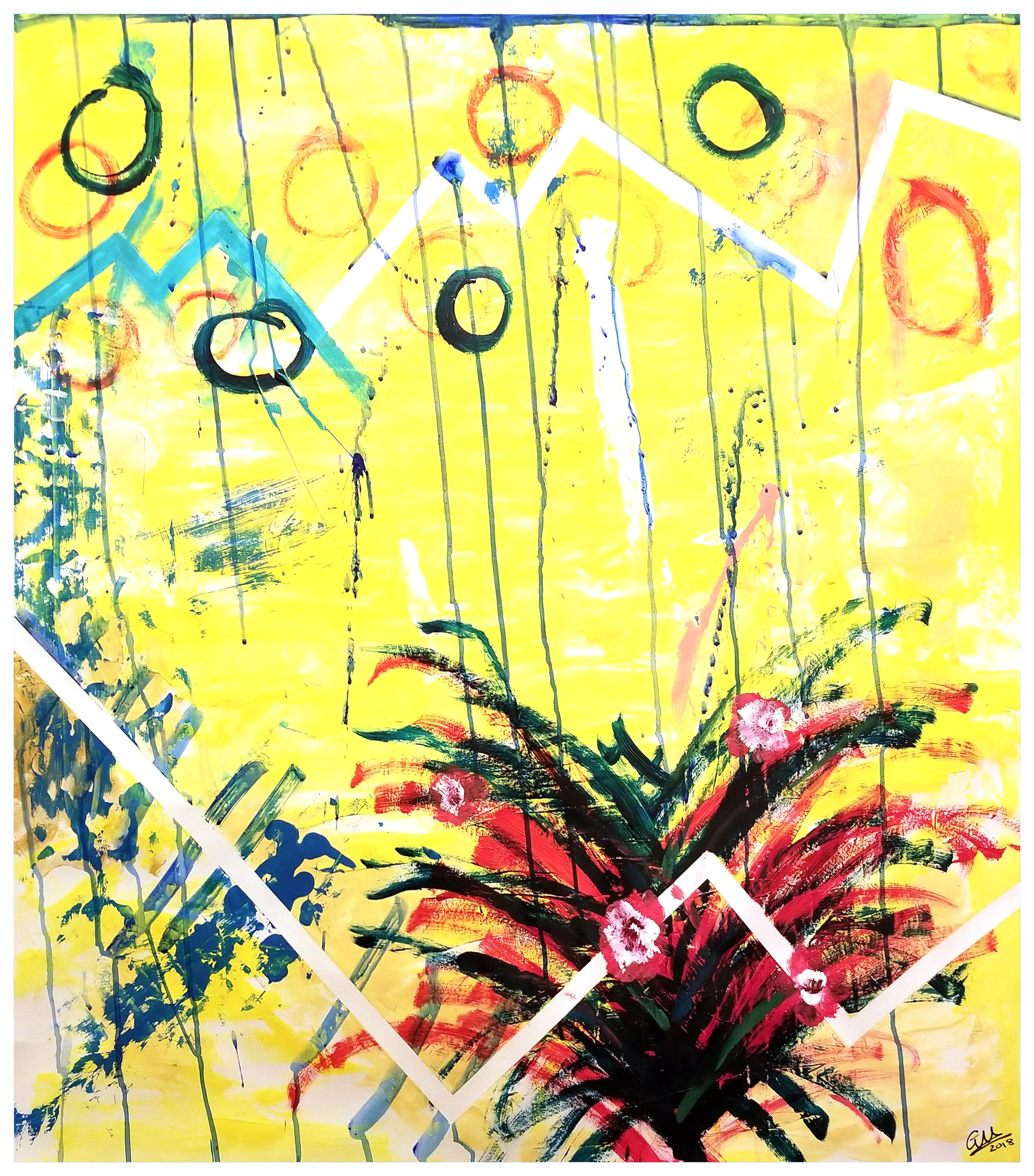 """Homeward Gaze"" (Acrylic on Paper, 36x42, 2018)"