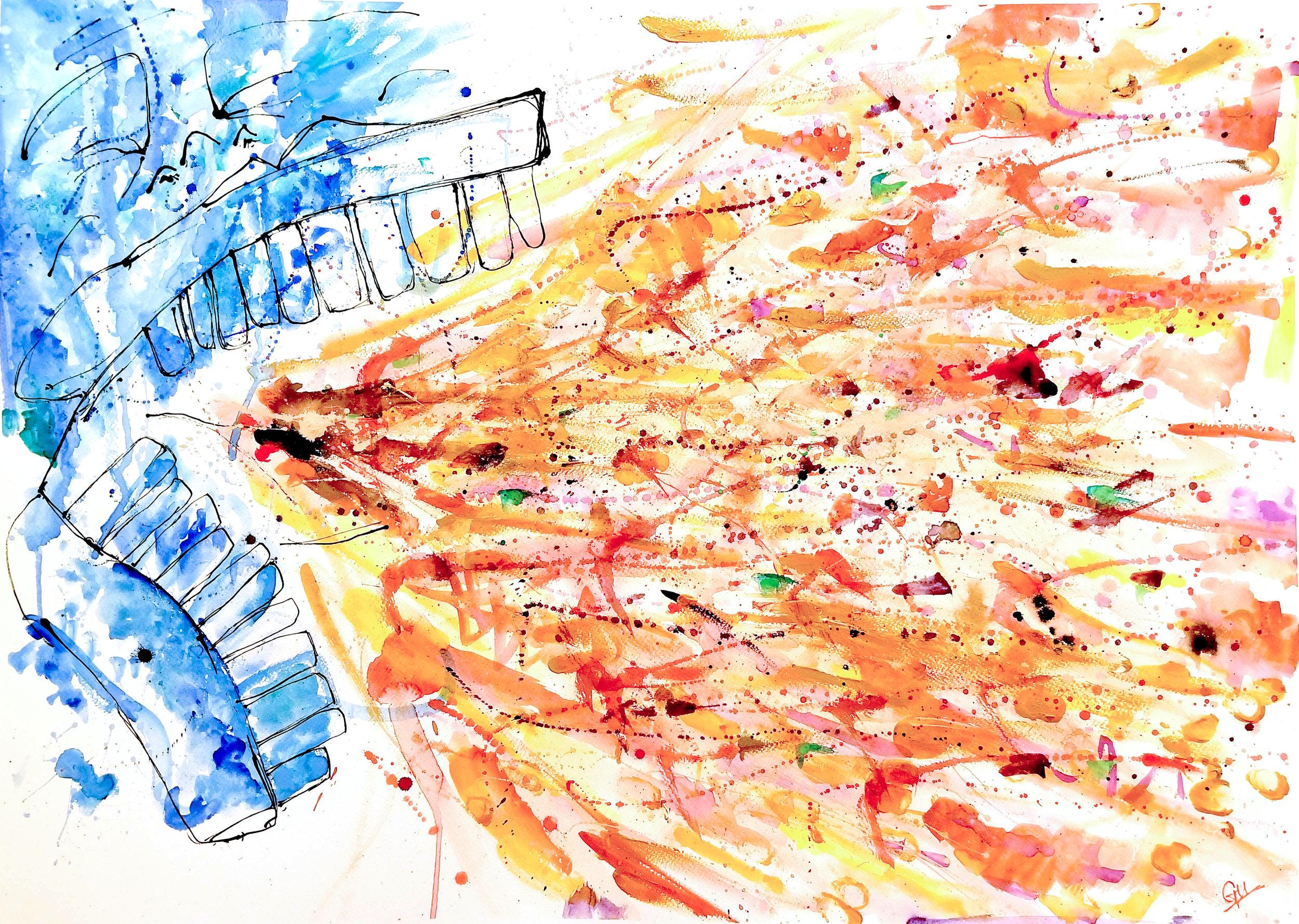 'לשון הרע ' (Watercolour and Acrylic, 20inx30in, 2017)