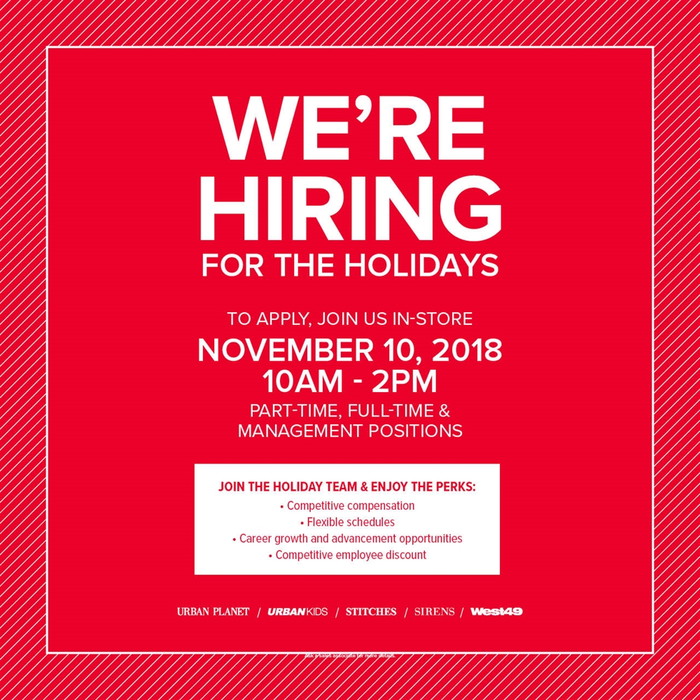 JOIN THE MOST FASHIONABLE TEAM IN RETAIL!    To Apply, Join Us In-Store on November 10th at 10am - 2pm!    Hiring Part-Time, Full-Time and Management Positions.