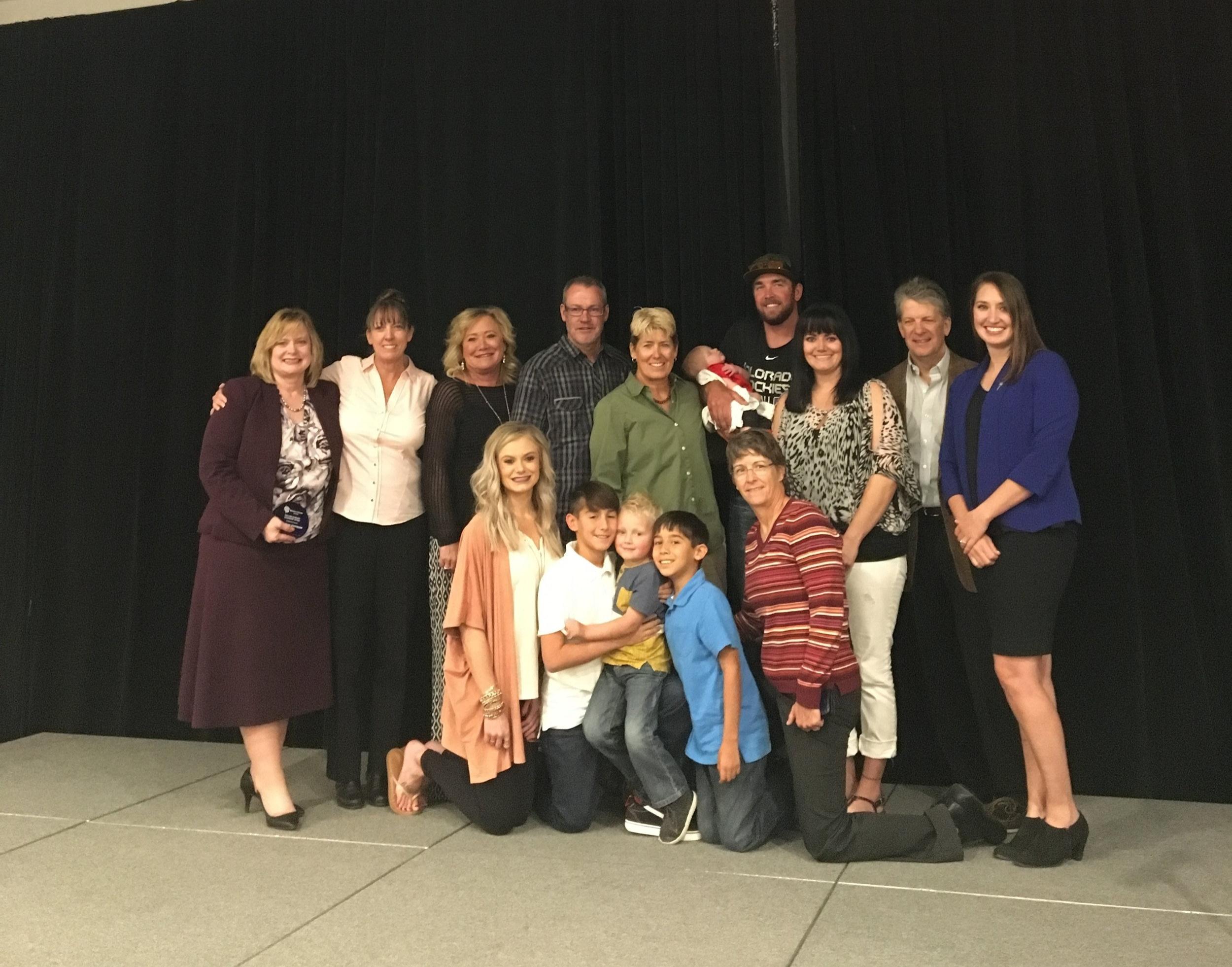 The family of the late Lori Moriarty with awardee Cynthia Coffman & Illuminate director Jade Woodard