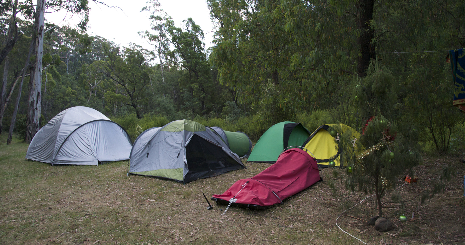 Camping at Christmas in tents and swags with a Christmas tree out the front