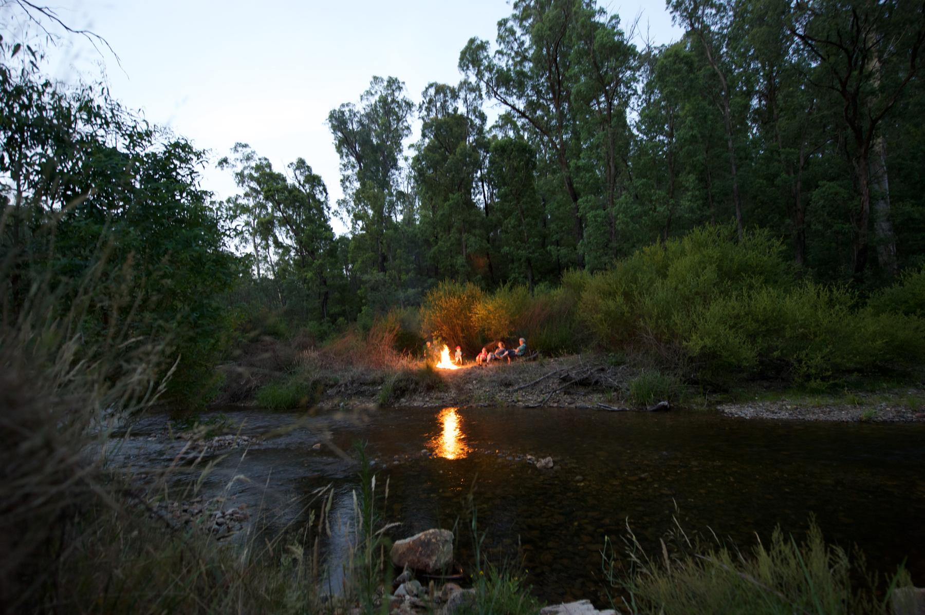 camp fire, river, island, kids, camping