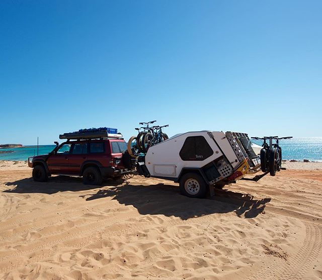Only way to get our #fatbikes around #australia is with our @isicarriers  #lovetheoutdoors #isicarriers #saltedbikes #beach #arb #roadtrip