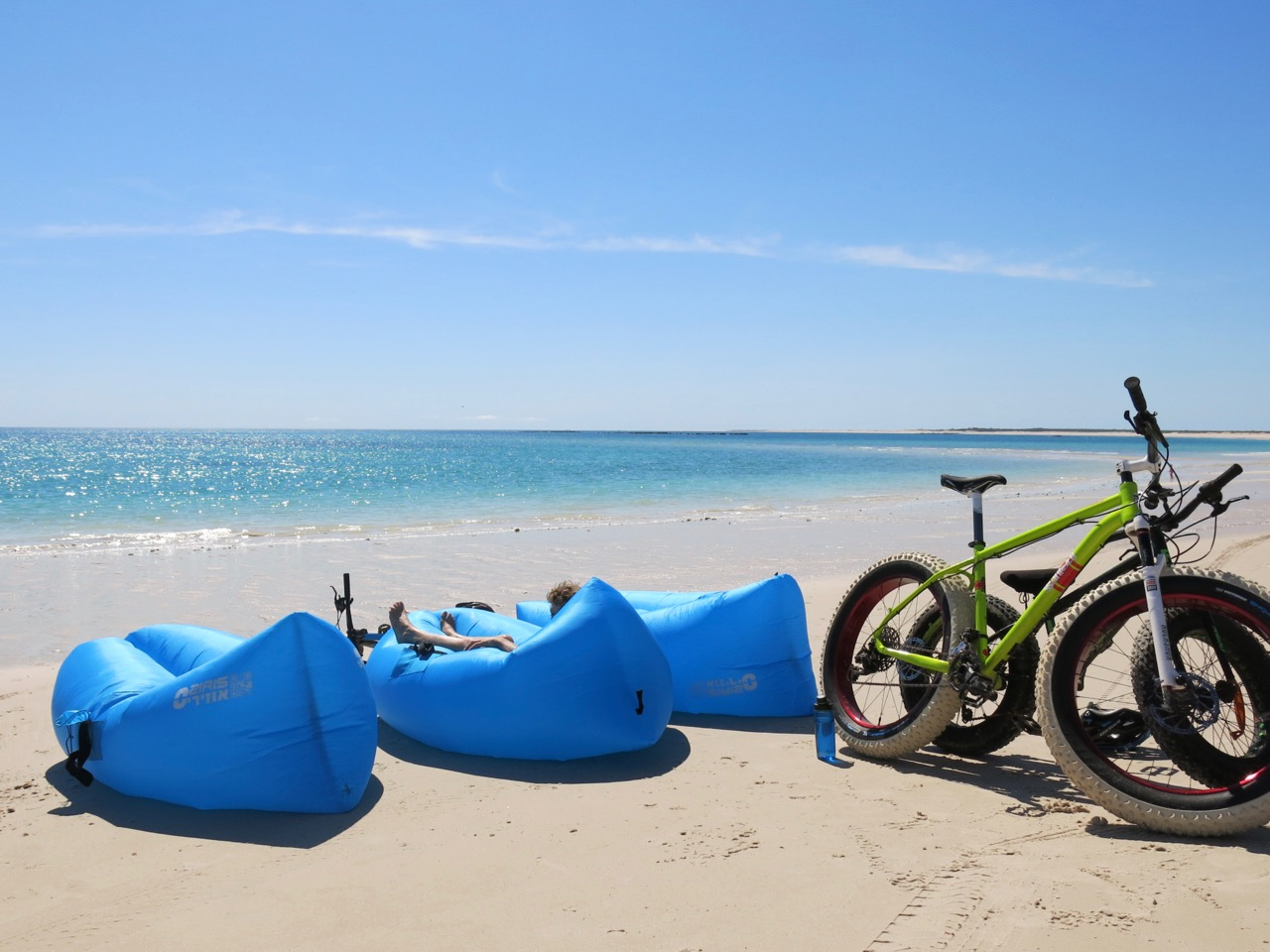 Lounges and fat bikes at beach