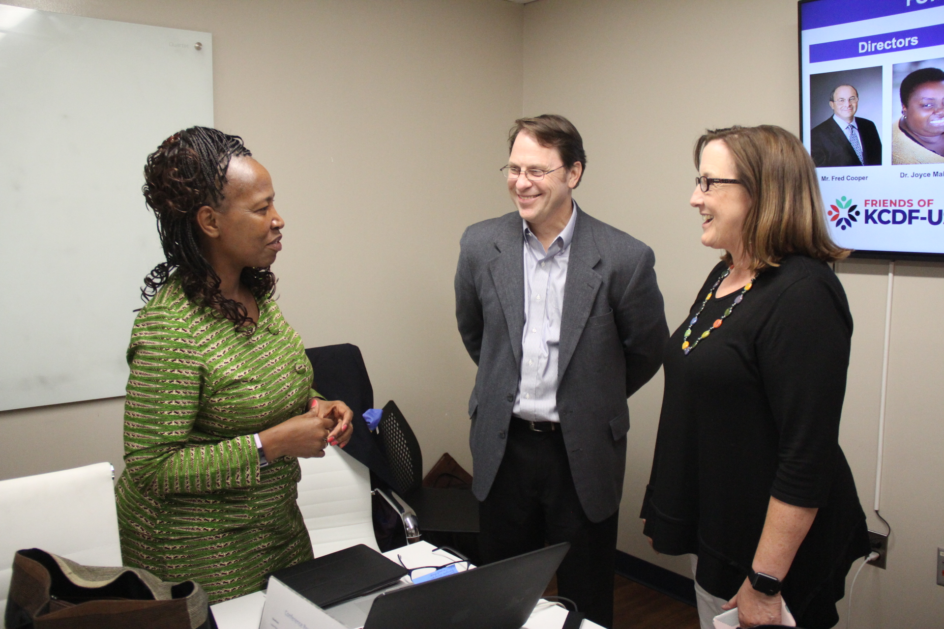 L-R Kenya Community Development Foundation (KCDF) Executive Director, Mrs. Janet Mawiyoo in consultation with Kenya Connect Treasurer Matthew Bowman and Kenya Connect Board Chair Cindy Dyer during the Strategic Partnership meeting held in Beltsville, Maryland