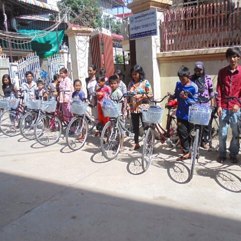 Our #Cambodia team has just distributed bicycles and helmets to our #children! These bicycles were donated by several generous donors, and we couldn't be more grateful.  It makes a huge difference when #Riverkids children living in #poverty in the slums of Cambodia can get to #school punctually and reach home conveniently to revise their homework instead of walking long distances.
