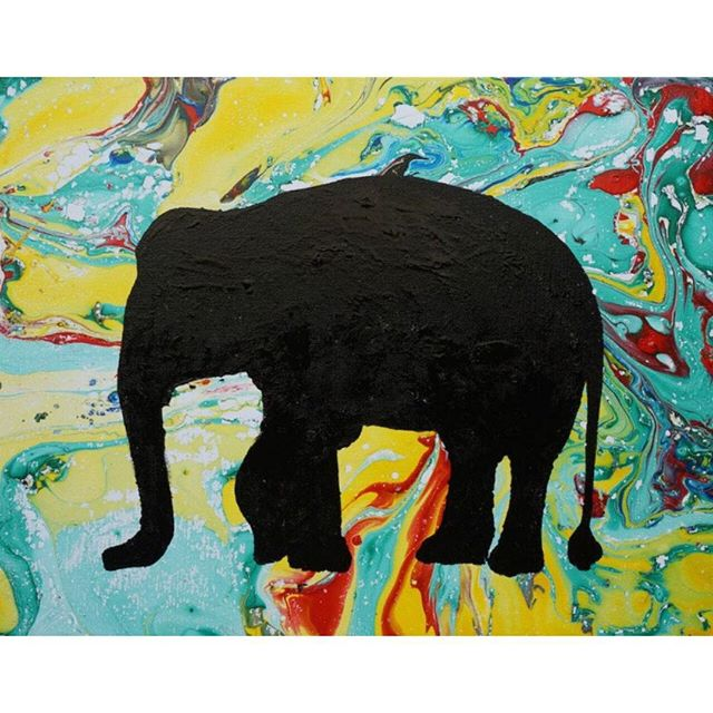 "This artwork, ""Jasmine Elephant"" is completed by Riverkids children with the help of 2 volunteers, using oil paint, silhouette creation of animal cut-outs and a big bucket of water in two days.  Just like the families in #Cambodia we work with, #elephants have complex emotions and are very sensitive. The herd usually comprises of leaders, gentle giants, playful rogues and reliable plodders that will help them survive in a harsh environments.  At #Riverkids, we work intensively with families in crisis in the slums of Cambodia where domestic violence, child trafficking and exploitation rife. Our #social workers visit them, listen to them and help them with meals, #school, #healthcare, vocational training and counselling so they don't have to give up their #children to brothels, begging rings and illegal adoption.  Despite living in the harsh environment where exploitation is rampant, our families recover gradually from hurt and trauma through our help. In 2015, we will see over 40 families graduate as ""Jasmine Elephants"" and celebrate their hard work of achieving financial independence and #freedom from sexual, physical or severe emotional abuse.  Join us at our Charity Art auction - One canvas, one cause next Friday! Check out our FB page for more details  #love #success #art #painting"