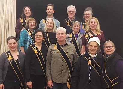 November 2018-November 2020   Left to Right, Top Row:   Katie Coppoletta,  Ceres ; Mark Stauffer,  Chaplain ; Gary Spoerle,  Gatekeeper;  Sara Grigsby , Executive Committee    Left to Right, Second Row:   Bev Law,  Steward ; Pam Arion,  Secretary ; Linden Burk,  Executive Committee ; Rebecca Gandy,  Executive Committee   Left to Right, Front Row:  Kellee Boyer,  Treasurer ; Carlyn Mitas,  President ; Eric Lichtenthaler,  Vice President (Overseer);  Marian Grebanier , Pomona;  Maureen Michelson , Lecturer