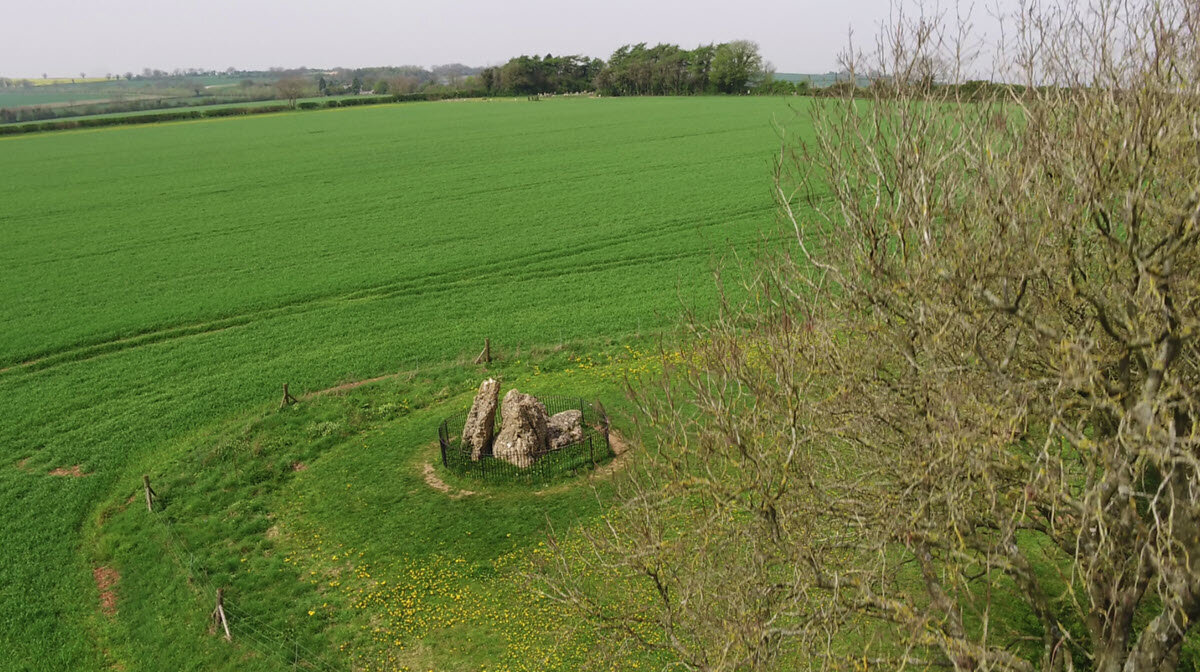 A view to the east across the Whispering Knights dolmen.
