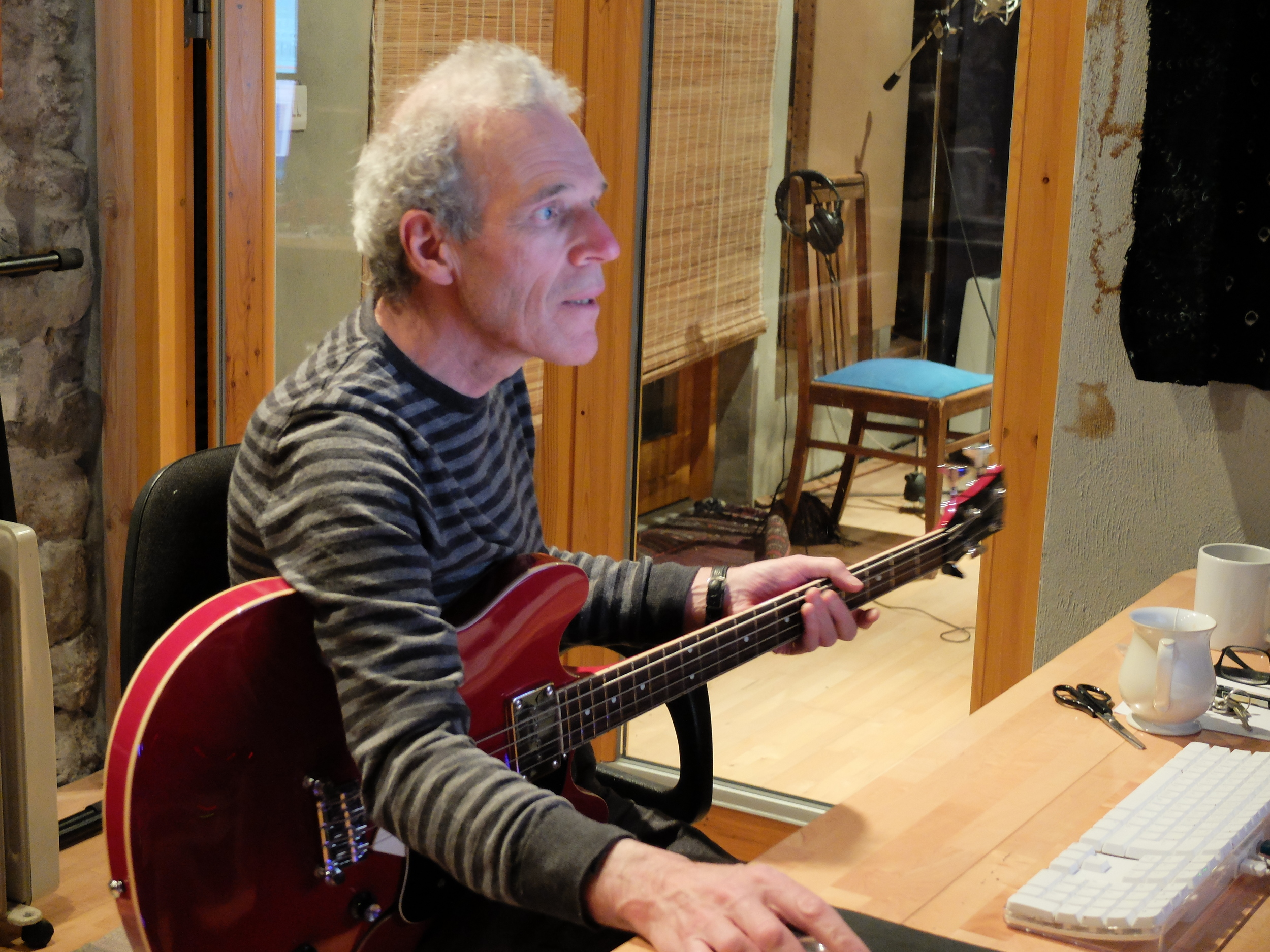 Garry working on the new Buttons & Bows album at his studio in The Burren, Co Clare, April 2015