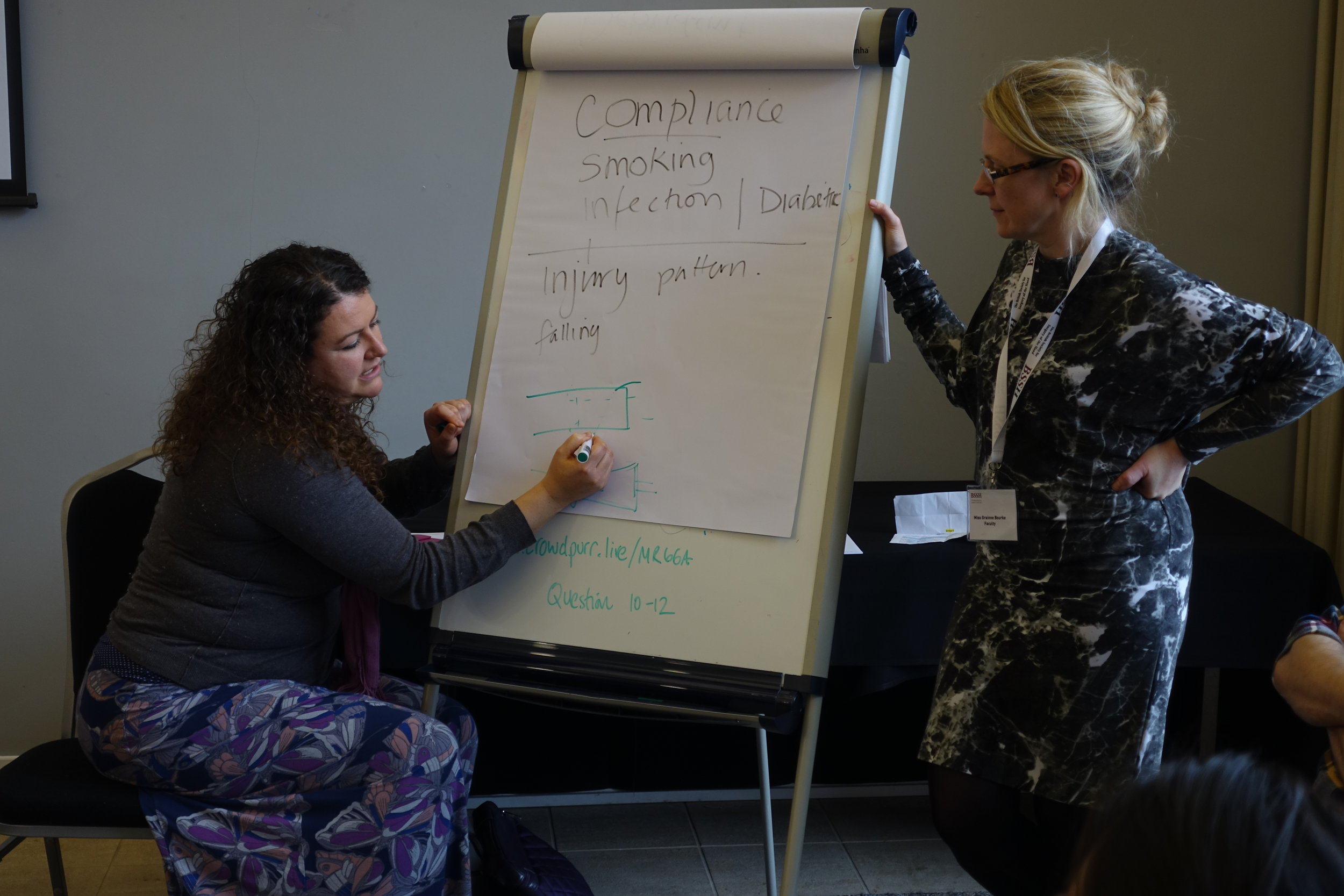 Miss Emily West (Bristol) and Miss Grainne Bourke (Leeds) in a master class on tendon repair