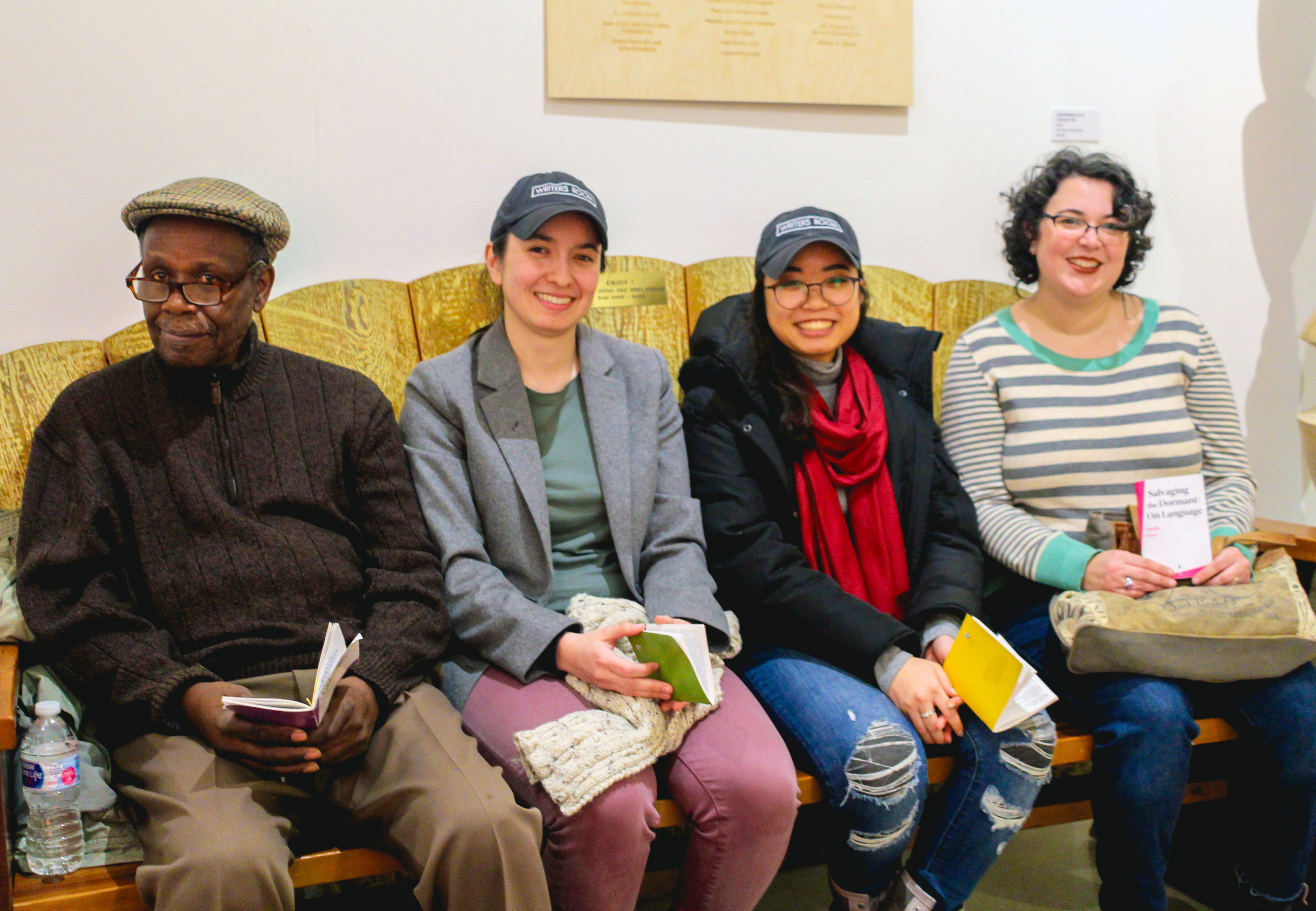 Four of our six fall 2018 Shockwire Chapbook Series authors reading at The Center for Art in Wood. Pictured (left to right): Norman Cain, Lauren Lowe, Briyanna Hymms, and Sarah Grey