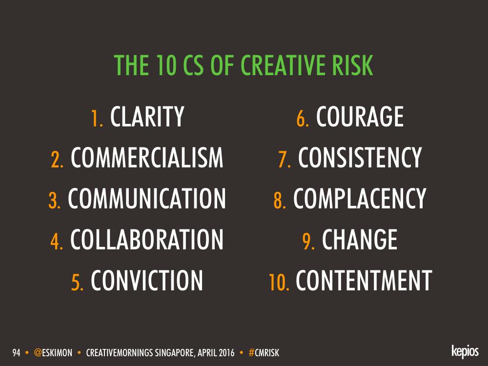 Managing Creative Risk: The 10Cs - Kepios @eskimon