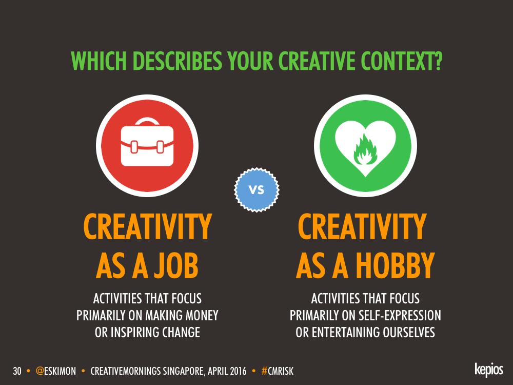 Creativity - Job vs. Profession - Kepios @eskimon