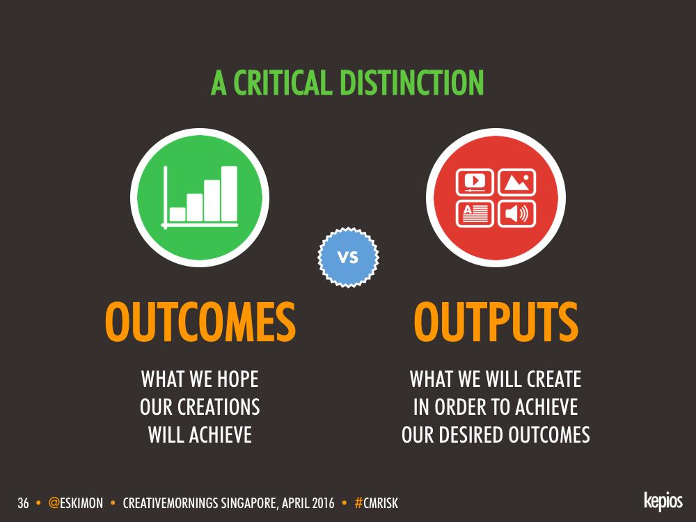 Outcomes vs. Outputs - Kepios @eskimon