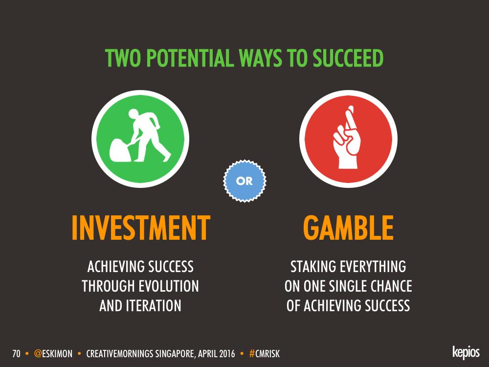 Creative Success - Investment vs. Gamble - Kepios @eskimon