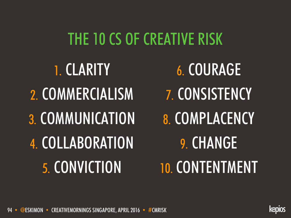 Managing Creative Risk - The 10 Cs - Kepios @eskimon