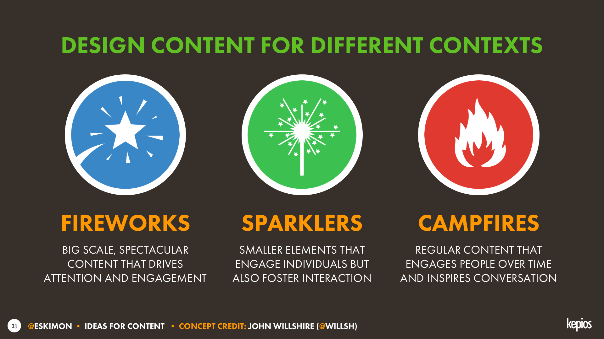 Content complexity: fireworks, sparklers and campfires