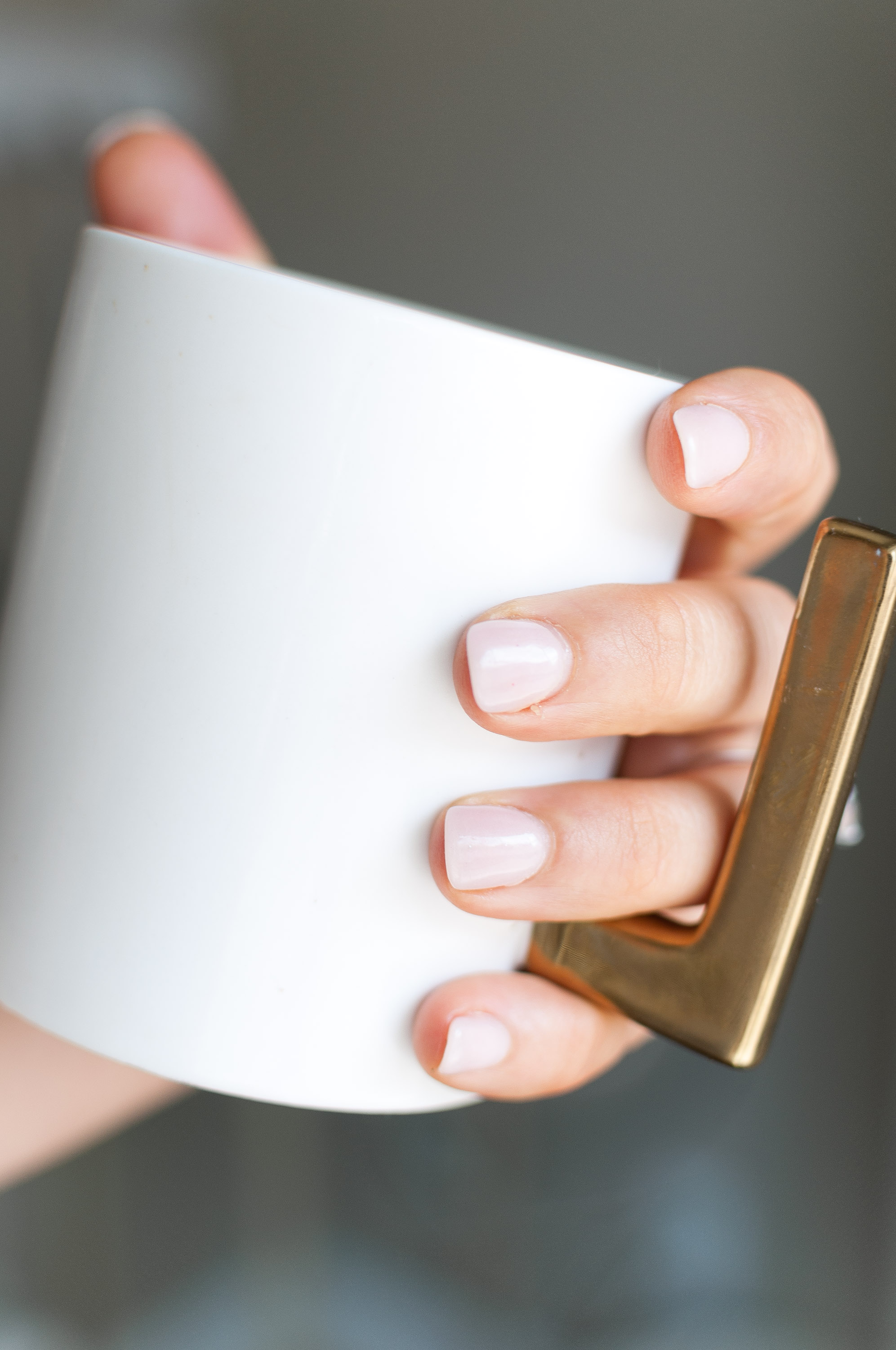 "I'm really into blush nails at the moment - the barely there color is fresh and on-trend. This color is ""cream of the crop"" by Kiara Sky SNS nail."