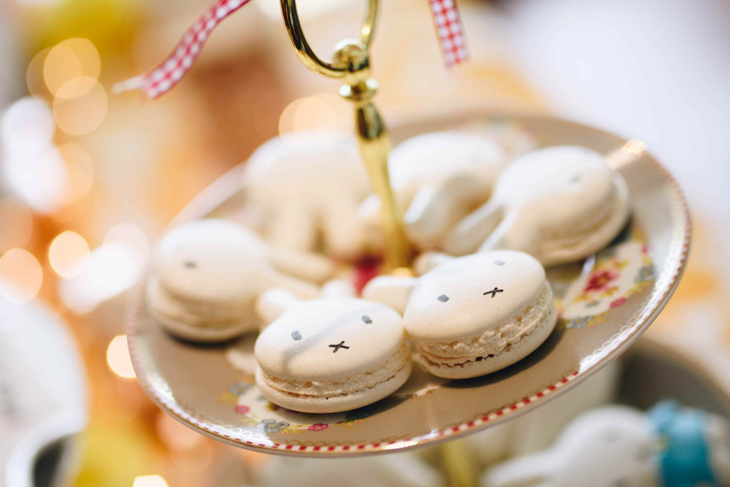 Miffy inspired macarons for Lotta's 1st birthday party at Sandbank Singapore. Super cute idea!