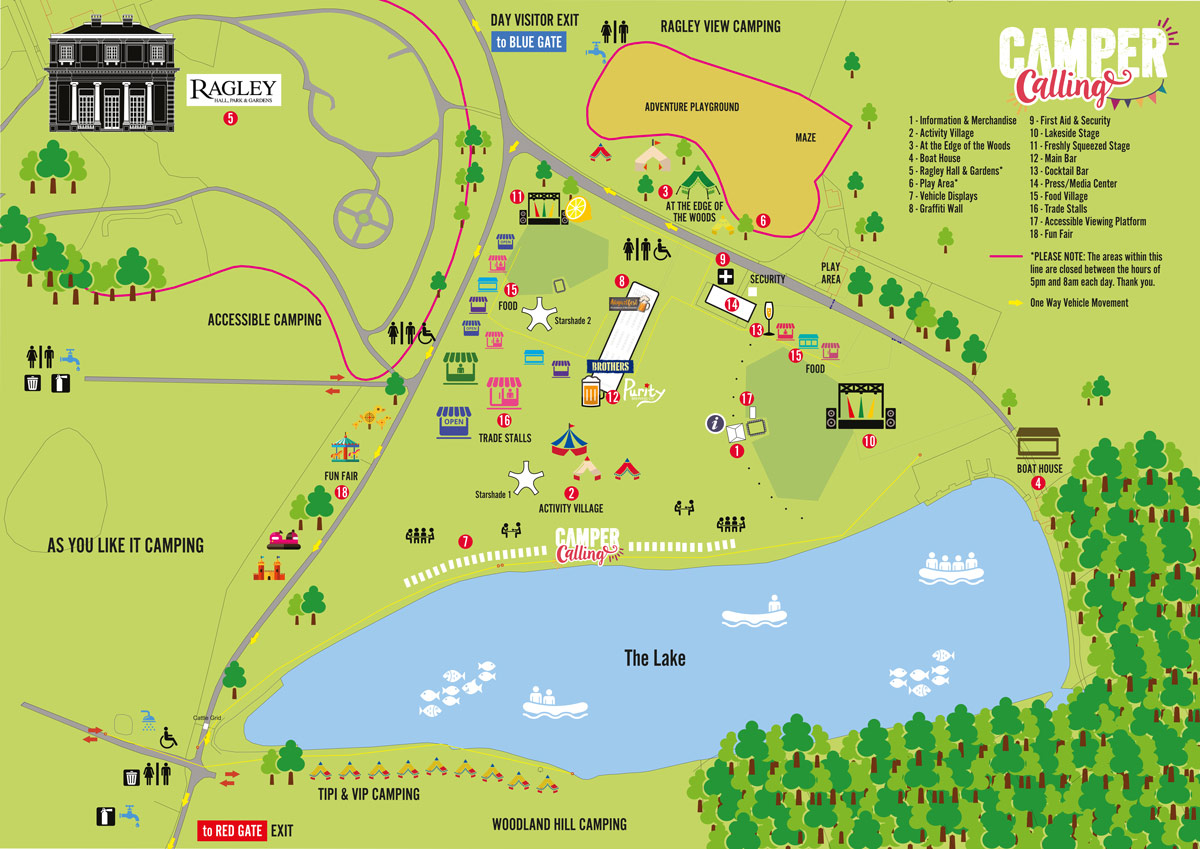 Map of Camper Calling Entertainment Areas - Click to Enlarge
