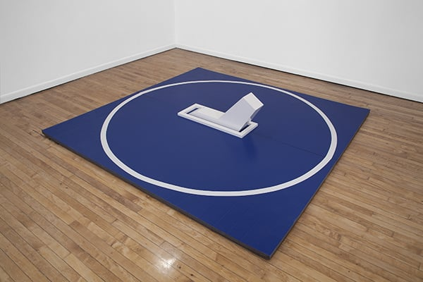 The Takedown,  Athletic mat, acrylic, vinyl tape, 2016 Photo by PD Rearick