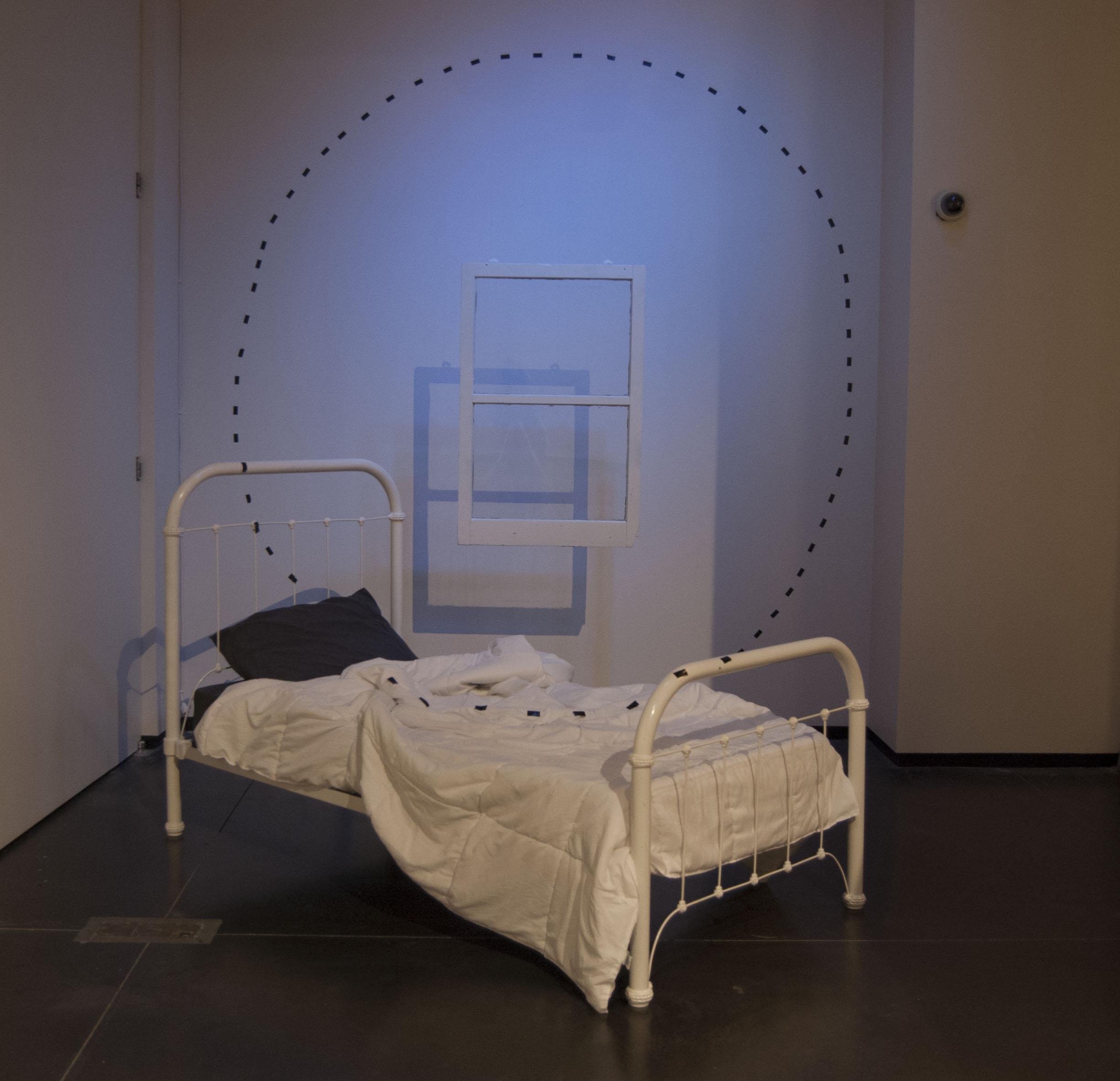 Daybreak   Emily Gadzinski and Maddie Miller Bed, Window, Tape, Blue Light, 2015