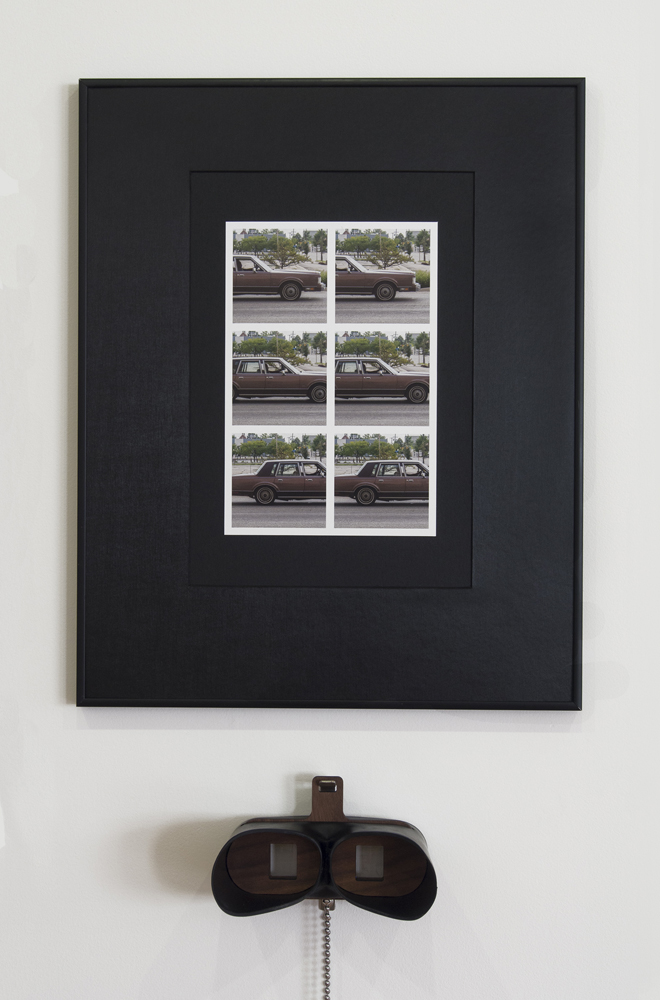 Kalamazoo & Park Stereoscopic Images,  2016  Brown Sedan, Kalamazoo Ave  archival inkjet print, fine art paper, museum board, frame   TwinScope Viewer  wood, rubber, hardware, lenses 4in x 4in x 7in