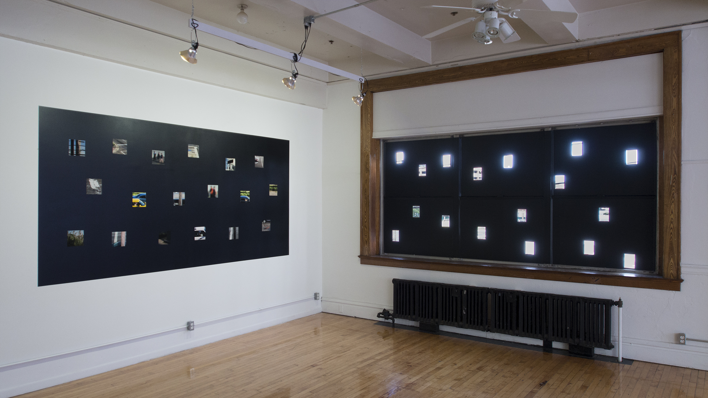 Photographic Actions,   2016 existing windows, archival inkjet prints on fine art paper, paint, shelf liner, background paper, gaffer tape