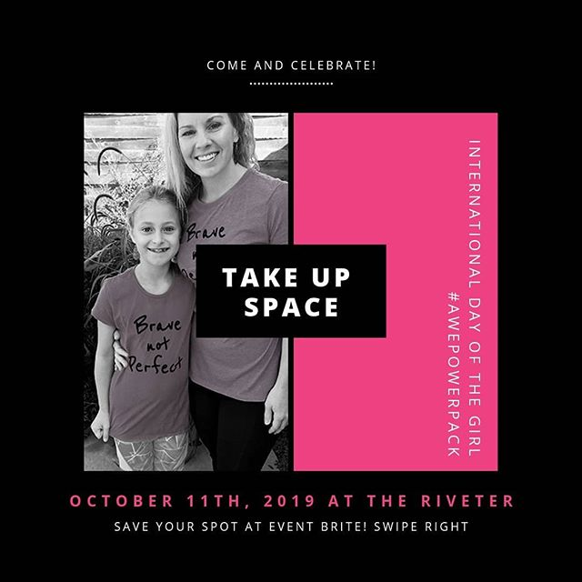 TODAY! Girls and their favorite GrownUps will learn to #TakeUpSpace, teach other girls to do the same & build their confidence on #idg2019.  This year, we will focus on how to Take Up Space: at school, on the field, at home, and in the world. Fourth to Eighth grade girls or so will be most engaged and #ignited.💖 🌸There will be movement, discussion, music making with @she_rock_she_rock, videos, #pizza, #awePowerPack s, and a pack of #GIRLS. Be ready to have fun, be inspired, feel more confident, and meet new friends with your favorite Grown Up!  See you tonight! 🎉