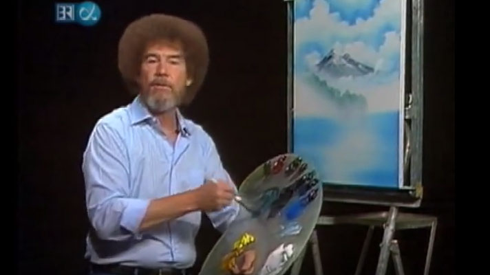 The legend Bob Ross creating another world where there are only happy accidents.