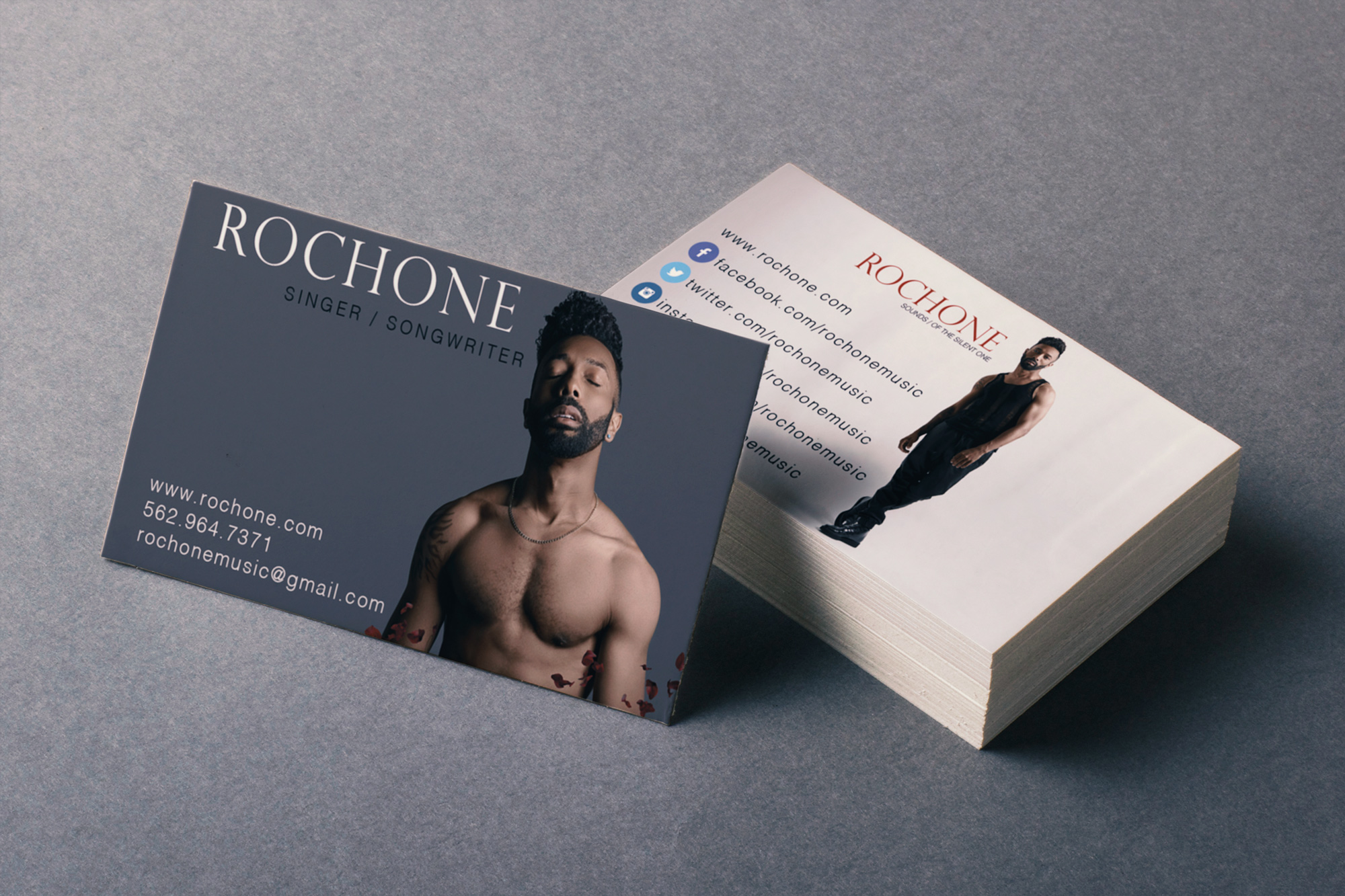 Business Cards for Singer/Songwriter Rochone