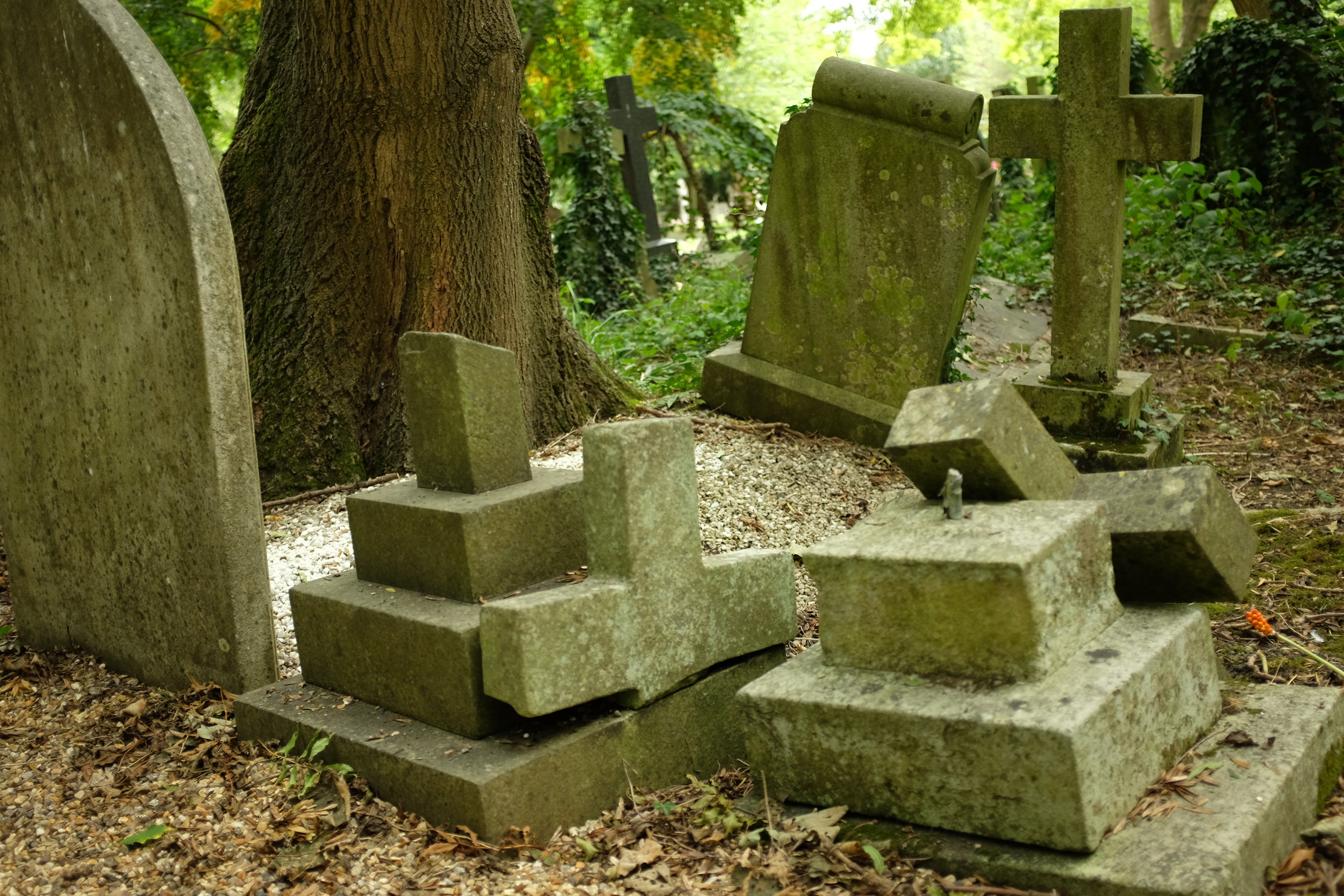 PERMANENCE QUESTIONED   There is a sense that stone is forever. But a string of deaths from collapsing graves led to strength-testing on tombstones across England in the 2000s. Countless monuments gave out under pressure, giving many English cemeteries a look of disrepair. Many of the markers that failed these tests were newer markers  (not pictured) , illustrating a lower grade of craftsmanship and tying cemeteries inextricably to larger industrial trends.
