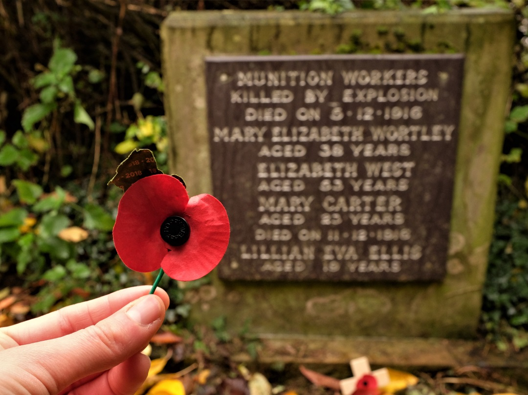 On the 11th hour of the 11th day of the 11th month, I brought a poppy to the grave of four women who died in a WWI munitions plant explosion. Since 1921, the British have commemorated the war dead with red poppies.