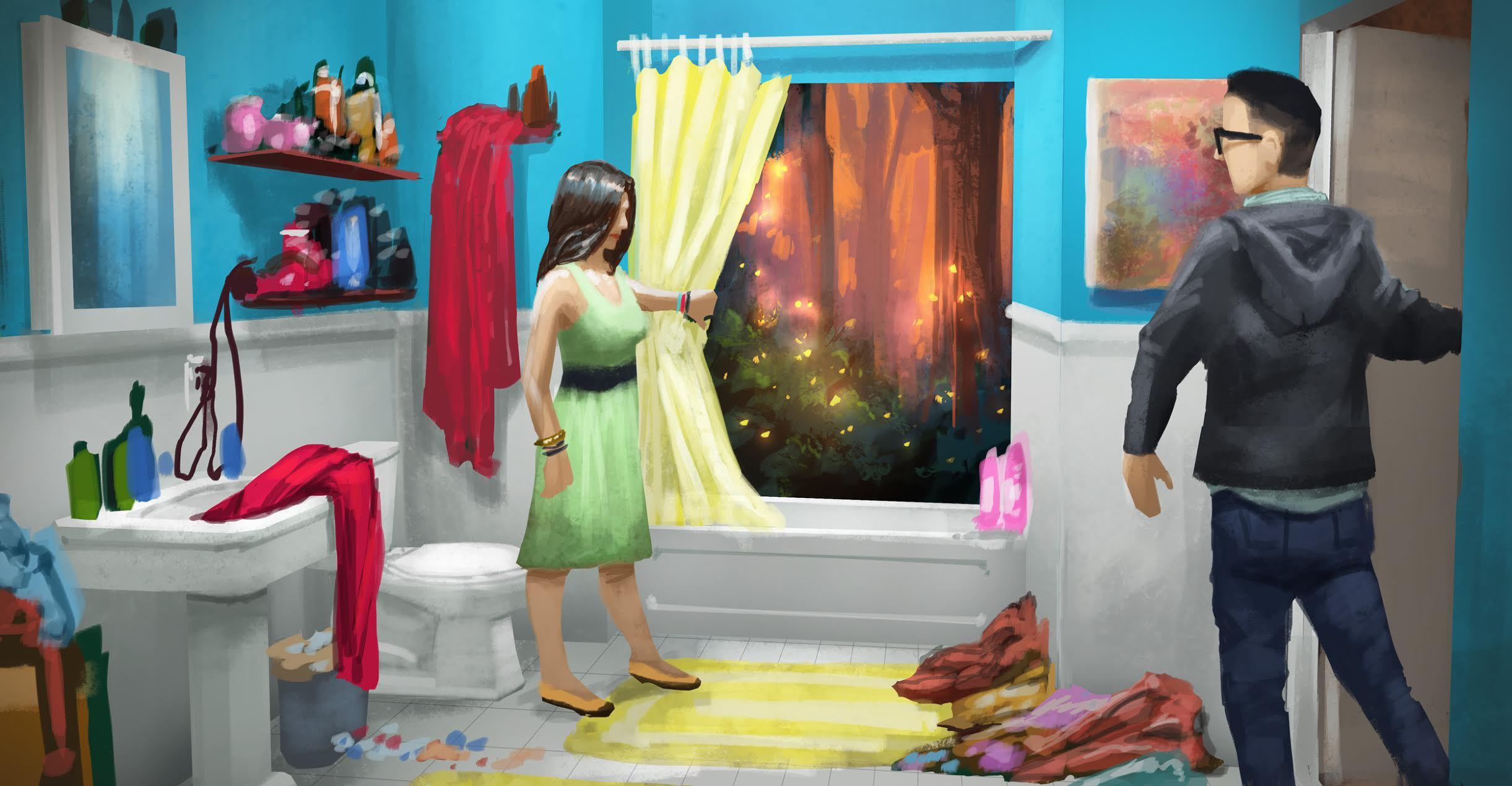 Guests move through the bathroom scene into the forest.  Illustration by Chris Bradley .
