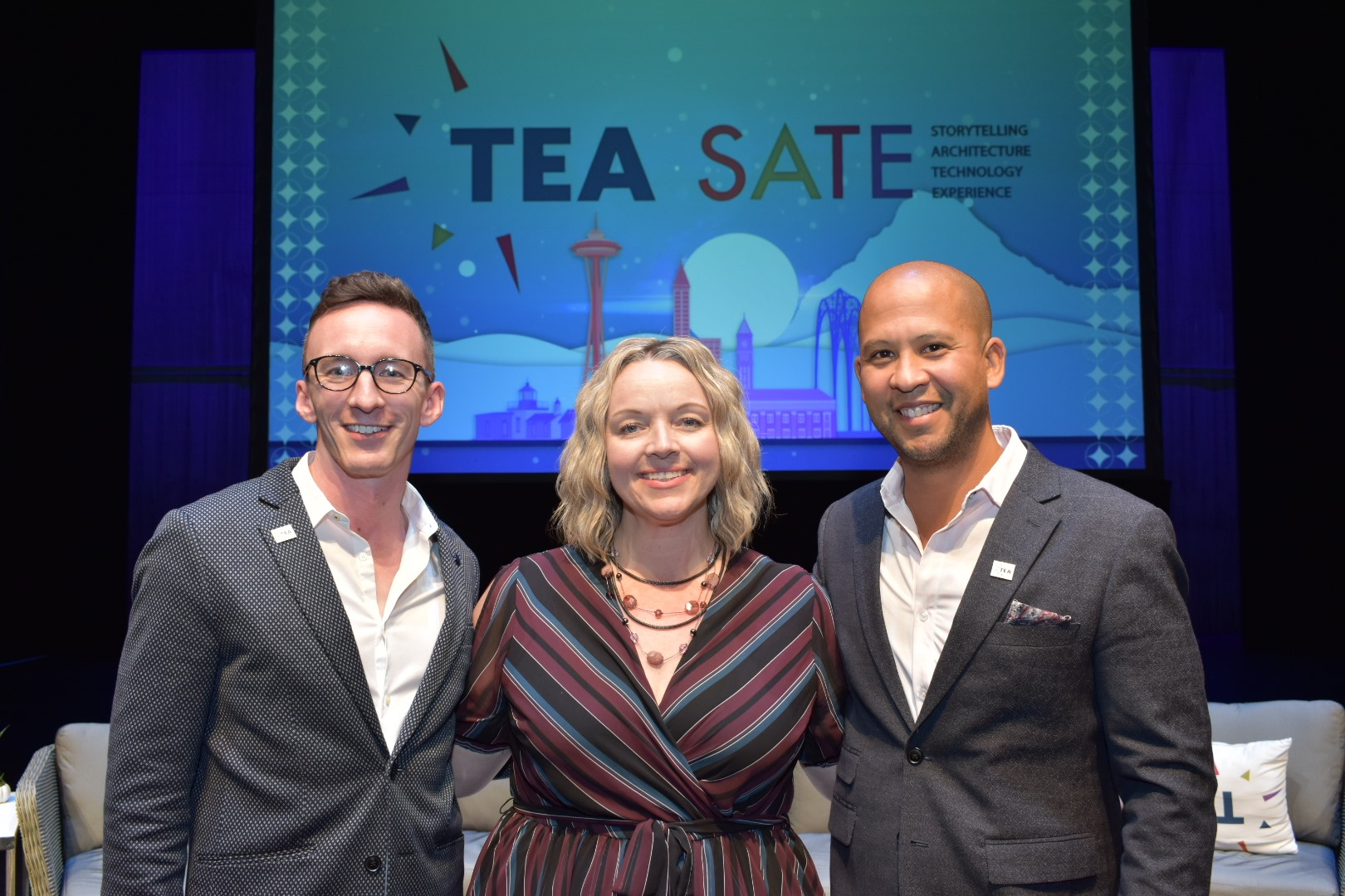 Ian Klein, Vizir Productions; Shannon Martin, Color Reflections; Nathan Jones, WhiteWater at the close of TEA SATE Seattle 2019.