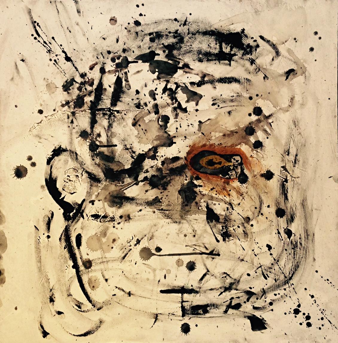 """Bashed"" 24x24 acrylic (2014) by Robert Johnson"