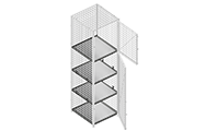 """Dividing shelves are made of 2"""" x 2"""" x 10 GA welded wire mesh framed in 1 ¼"""" x 1 ¼"""" x12GA structural angle or with 16 GA sheet metal."""