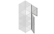 """Single swing doors are equipped with a padlock hasp, hinges and door stoppers. Doors are made of 2"""" x 2"""" x 10 GA welded wire mesh with one welded 1/2"""" ø reinforcement rod from corner to the corner."""