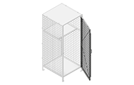 """Single swing and double swing doors comes with a welded handle and padlock hasp. Doors are made of 2"""" x 2"""" x 10 GA, 2"""" x 1"""" x 10 GA, 1"""" x 1"""" x 10 GA welded wire mesh with two welded 1/2"""" ø reinforcement."""